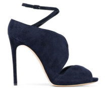 Cutout suede pumps