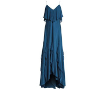 Layered ruffled silk-blend gown