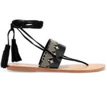 Tasseled embroidered leather sandals