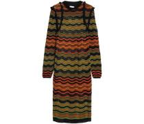 Ruffle-trimmed crochet-knit dress