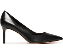 Suede-trimmed Glossed-leather Pumps Black
