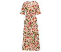 Gathered Floral-print Silk Crepe De Chine Maxi Dress White