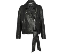 Belted textured-leather biker jacket