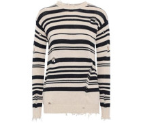 Distressed Striped Cotton Sweater Neutral