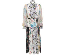Woman Pussy-bow Pleated Floral-print Crepe Midi Dress Multicolor