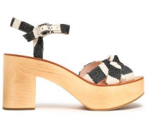 Knotted striped canvas platform sandals