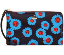 Floral-print coated-canvas wallet