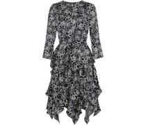 Tiered floral-print crepe de chine dress