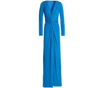 Twist-front layered crepe gown