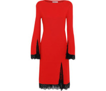 Lace-trimmed Ribbed Silk Dress Tomato Red