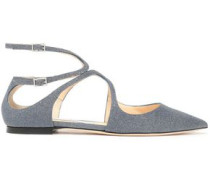 Lancer Cutout Glittered Leather Point-toe Flats Storm Blue