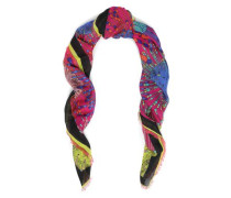 Frayed Printed Wool, Silk And Cashmere-blend Scarf Magenta Size --