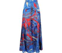 Fluted Printed Satin-twill Midi Skirt Blue