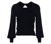 Open-back Ruffle-trimmed Knitted Sweater Midnight Blue