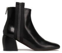 Grosgrain-trimmed Glossed-leather Ankle Boots Black