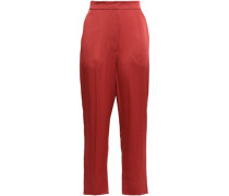 Cropped Satin-crepe Tapered Pants Claret