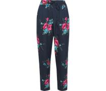 Floral-print silk slim-leg pants