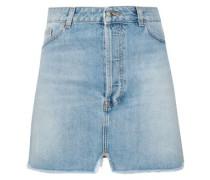 Frayed Distressed Denim Mini Skirt Light Denim
