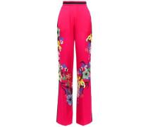Floral-print Satin-crepe Wide-leg Pants Bright Pink
