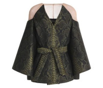 Cape-effect paneled jacquard jacket