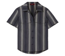 Woman Nico Striped Cotton-poplin Shirt Navy