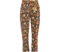 Belted Floral-print Cotton-canvas Tapered Pants