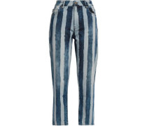 Cropped Striped High-rise Slim-fit Jeans Light Denim  6