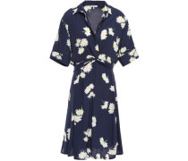 Silvery Twist-front Floral-print Crepe Dress Navy