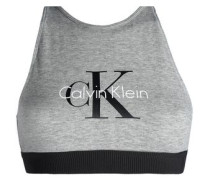 Printed Stretch-cotton Sports Bra Gray