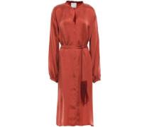 Belted Washed-satin Midi Dress Brick