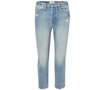 Pegged Cropped Distressed Boyfriend Jeans Light Denim  4