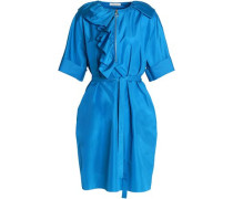 Belted ruffled silk-taffeta dress