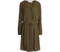 Pintucked crepe shirt dress