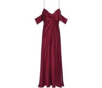 Cold-shoulder Washed-silk Midi Dress Burgundy Size 0
