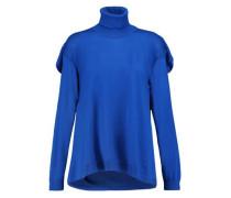 Draped Wool Turtleneck Sweater Cobalt Blue