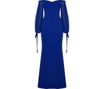 Off-the-shoulder Chiffon-paneled Crepe Gown Royal Blue