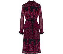 Embroidered lace-trimmed printed fil coupé silk dress