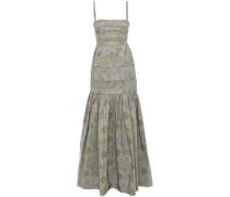 Pleated Floral-print Taffeta Maxi Dress Grey Green