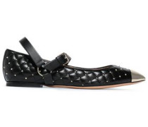 Woman Studded Quilted Point-toe Flats Black