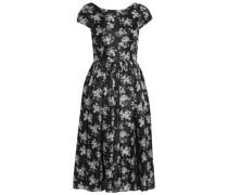 Pleated floral-print silk-satin dress
