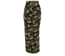 Woman Printed Satin-crepe Midi Pencil Skirt Army Green