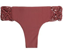 Macramé-trimmed low-rise bikini briefs