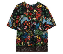 Embroidered cotton-blend lace top