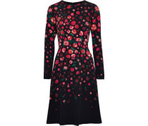 Tiered floral-print crepe dress