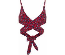 Leopard-print wrap bikini top