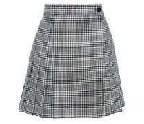 Pleated Houndstooth Jacquard Mini Wrap Skirt Black