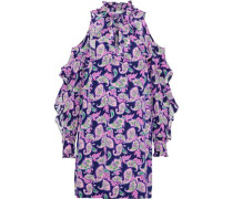 Emiko Cold-shoulder Printed Silk Crepe De Chine Mini Dress Lavender
