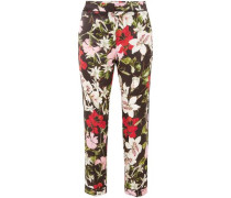 Ginnie Cropped Floral-print Silk-satin Tapered Pants Black