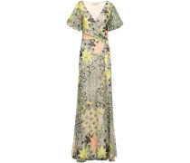Printed Fil Coupé Silk-blend Wrap Dress Grey Green Size 12