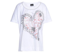 Embellished Printed Cotton-jersey T-shirt White